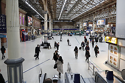 © Licensed to London News Pictures. 10/01/2017. London, UK.  Very few passengers are seen at Victoria Station as a second round of strikes by Southern Rail train drivers starts. Photo credit: Peter Macdiarmid/LNP