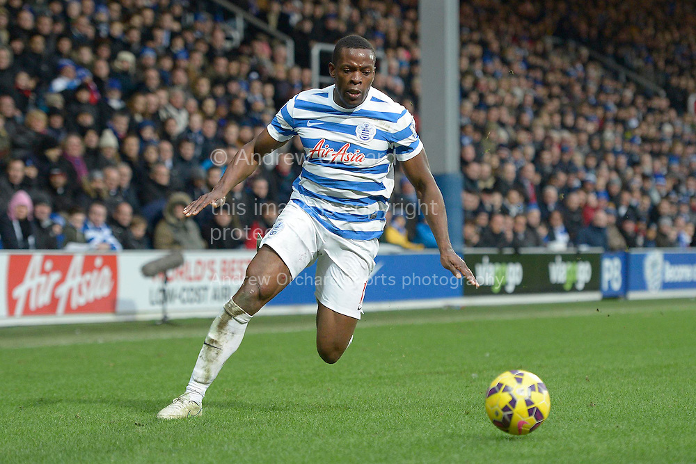 Nedum Onuoha of QPR on the ball. Barclays Premier league match, Queens Park Rangers v Southampton at Loftus Road in London on Saturday 7th Feb 2015. pic by John Patrick Fletcher, Andrew Orchard sports photography.
