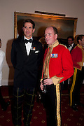 PRINCE PAVLOS; JONATHAN BARTHOLOMEW COMMANDING OFFICER, Charity Dinner in aid of Caring for Courage The Royal Scots Dragoon Guards Afganistan Welfare Appeal. In the presence of the Duke of Kent. The Royal Hospital, Chaelsea. London. 20 October 2011. <br /> <br />  , -DO NOT ARCHIVE-© Copyright Photograph by Dafydd Jones. 248 Clapham Rd. London SW9 0PZ. Tel 0207 820 0771. www.dafjones.com.