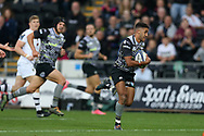 Keelan Giles of the Ospreys (r) makes a break.European Rugby Champions Cup, pool 2 match, Ospreys v ASM Clermont Auvergne at the Liberty Stadium in Swansea, South Wales on Sunday 15th October 2017.<br /> pic by  Andrew Orchard, Andrew Orchard sports photography.