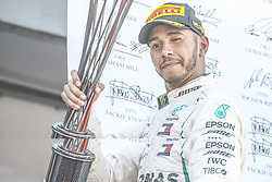 May 13, 2018 - Barcelona, Catalonia, Spain - LEWIS HAMILTON (GBR) of Mercedes celebrates his victory of the Spanish GP holding his cup on the podium at the Circuit de Barcelona - Catalunya (Credit Image: © Matthias Oesterle via ZUMA Wire)