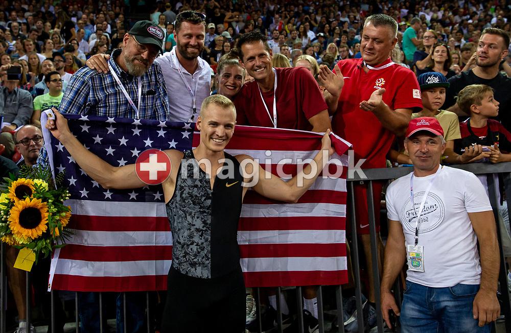 Sam KENDRICKS of United States of America (USA) celebrates after winning in the Men's Pole Vault during the Iaaf Diamond League meeting (Weltklasse Zuerich) at the Letzigrund Stadium in Zurich, Switzerland, Thursday, Aug. 29, 2019. (Photo by Patrick B. Kraemer / MAGICPBK)