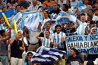 26/08/04 - ATHENS  - GREECE -  - BASKETBALL QUARTERFINAL MATCH   - Indoor Olympic Stadium - <br />ARGENTINA win (69) over GREECE (64) <br />Argentine celebration after win the match.<br />Here Argentien fans / supporters celebration.<br />© Gabriel Piko / Argenpress.com / Piko-Press