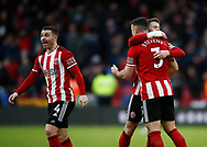 John Fleck, Oli Norwood and Ends Stevens of Sheffield Utd celebrate the win during the Premier League match at Bramall Lane, Sheffield. Picture date: 9th February 2020. Picture credit should read: Simon Bellis/Sportimage