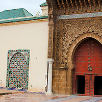 Africa, Morocco, Meknes. Mausoleum of Moulay Ismail Entry.