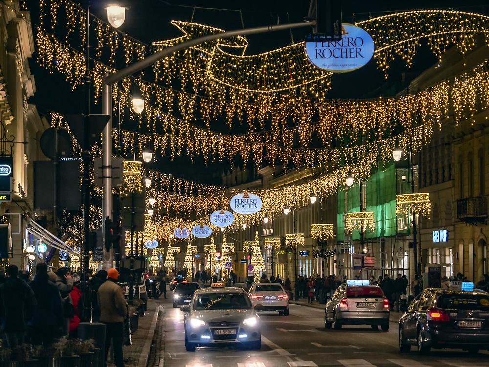 Warszawa, 03.12.2019. Iluminacja bożonarodzeniowa w Warszawie.