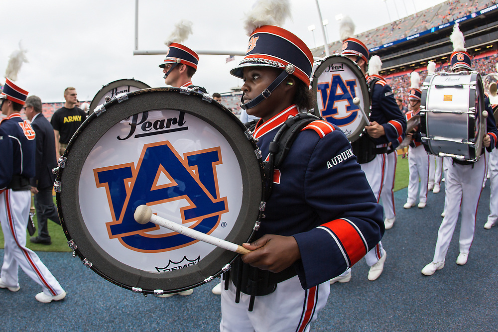 Auburn Tigers band during an NCAA football game against the Mississippi Rebels, Saturday, October 7, 2017, in Auburn, AL. Auburn won 44-23. (Paul Abell via Abell Images for Chick-fil-A Peach Bowl)