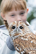 UNITED KINGDOM, London: 30 July 2019<br /> Erin Bowers, aged 9 and Alberta the Owl pose for a picture at London Zoo's new Animal Adventure Playpark. The new and exciting nature-inspired adventure-play destination officially opens to the public tomorrow on July 31st 2019.<br /> Credit: Rick Findler / Story Picture Agency