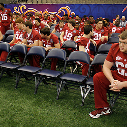 January 6, 2012; New Orleans, LA, USA; Alabama Crimson Tide offensive linesman Kellen Williams (63) sits with teammates during Media Day for the 2012 BCS National Championship game to be played on January 9, 2012 against the LSU Tigers at the Mercedes-Benz Superdome.  Mandatory Credit: Derick E. Hingle-US PRESSWIRE
