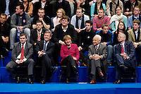 09 APR 2005 OBERHAUSEN/GERMANY:<br /> Peter Mueller, CDU, Ministerpraesident Saarland, Christian Wulff, CDU, Ministerpraesident Niedersachsen, Angela Merkel, CDU Bundesvorsitzende, Edmund Stoiber, CSU, Ministerpraesident Bayern, Roland Koch, CDU, Ministerpraesident Hessen, Wahlkampfauftaktveranstaltung zur Landtagswahl in Nordrhein-Westfalen, Koenig-Pilsener-Arena<br /> IMAGE: 20050409-01-110<br /> KEYWORDS: Peter Müller