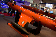 A Kratos MQM-178 'Firejet' drone target at the Farnborough Air Show, England. The Firejet fills a variety of mission roles, including anti-aircraft artillery training, surface-to-air and air-to-air missile testing. Capable of flying low-and-slow or high-and-fast, Firejet offers users the opportunity to test multiple platforms with one flexible, affordable aerial target system.