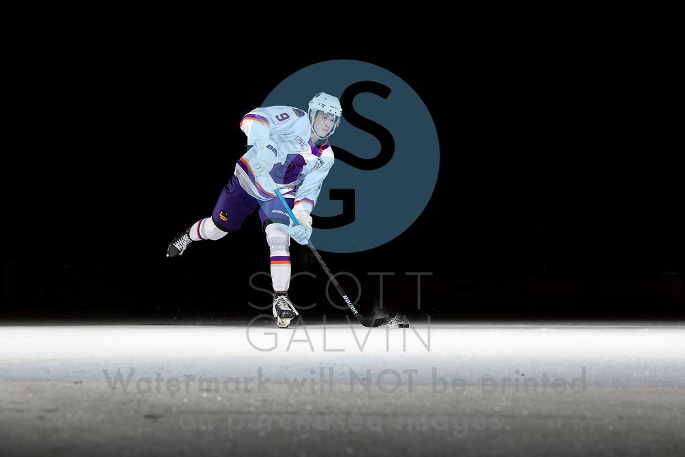 Youngstown Phantoms player photo shoot on April 14, 2021. <br /> <br /> Carter Rose, defenseman, 9
