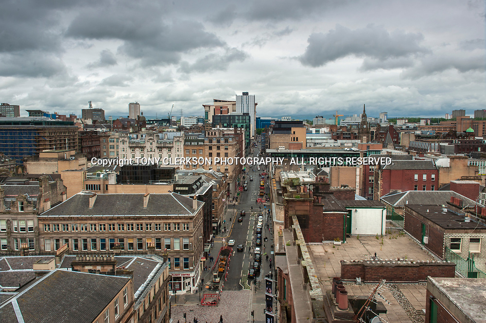 View from above of West Nile Street in Glasgow