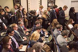 November 14, 2016 - Washington Dc, DC, USA - A view of journalists covering U.S. President Barack Obama as he speaks during a news conference in the Brady Press Briefing Room at the White House in Washington, DC. President Obama spoke and answered questions about President-elect Trumps transition before heading out to Germany, Peru, and Greece. (Credit Image: © Ken Cedeno via ZUMA Wire)