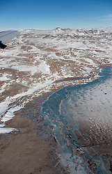 April 16, 2019 - Bengal - Lambert Land Lake during research flights for NASA's Operation IceBridge now in its final year after a decade of airborne missions to map polar ice. Frozen meltwater lake in the Lambert Land region of northeastern Greenland, between the Zacharia Isstrom and 79N glaciers. (Credit Image: ? NASA Earth Observatory/ZUMA Wire/ZUMAPRESS.com)