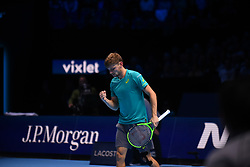 November 17, 2017 - London, England, United Kingdom - David Goffin of Belgium celebrates victory in his Singles match against Dominic Thiem of Austria during day six of the Nitto ATP World Tour Finals at O2 Arena on November 17, 2017 in London, England. (Credit Image: © Alberto Pezzali/NurPhoto via ZUMA Press)