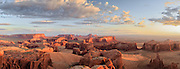 Panoramic view of Monument Valley Navajo Tribal Park from atop Hunt's Mesa at sunrise.  This image is available for very large prints, up to 8' wide.