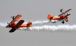 April 27, 2017 - The Breitling Wingwalkers perform at the Airshow Zhengzhou 2017 in Zhengzhou, capital of central China's Henan Province, April 27, 2017. The 5-day air show kicked off in Zhengzhou on Thursday, aiming to build a general aviation gathering center for business and communications. (Credit Image: © Zhu Xiang/Xinhua via ZUMA Wire)