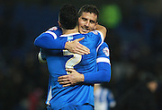 Brighton striker Tomer Hemed is congratulated by Brighton central midfielder Beram Kayal on his winning goal during the Sky Bet Championship match between Brighton and Hove Albion and Charlton Athletic at the American Express Community Stadium, Brighton and Hove, England on 5 December 2015. Photo by Bennett Dean.