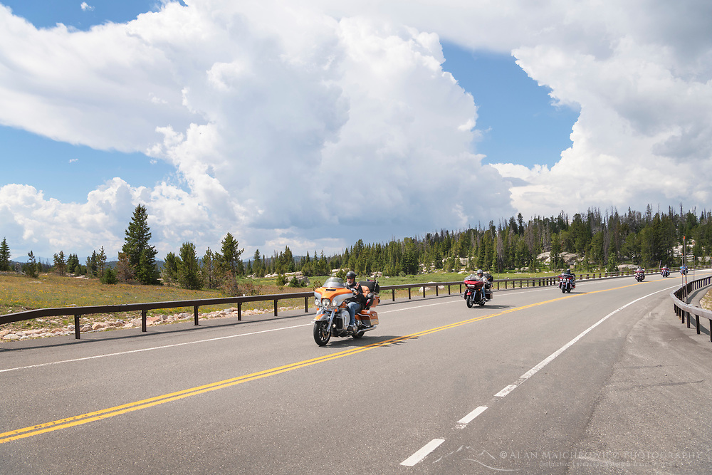 Motorcycls on Beartooth Highway Wyoming