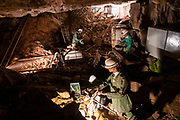 An exhibition displays cave explorers and their original equipment who discovered Dan yr Ogof Cave in the National Showcaves Centre for Wales, Abercrave, Swansea, Wales, UK.  It is a 17-kilometer cave system in South Wales.  (photo by Andrew Aitchison / In pictures via Getty Images)