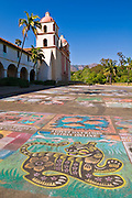 I madonnari chalk drawings at the Santa Barbara Mission (Queen of the missions), Santa Barbara, California