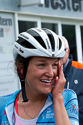 © Licensed to London News Pictures. 14/06/2019. Llanelwedd, Powys, Wales, UK. Lizzie Deignan wins today's stage of the OVO Energy Womens Tour race which finishes at the Royal Welsh Showground in Llanelwedd, Powys, UK. Photo credit: Graham M. Lawrence/LNP