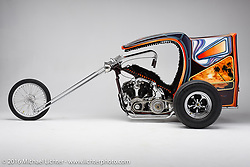 A late 60's/early 70's style trike built from a knucklehead by JP Rodman. Photographed by Michael Lichter in Boulder, CO on July 18, 2016. ©2016 Michael Lichter.