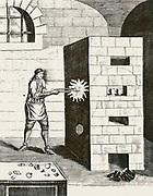 Frontispiece of fifth book 'Of Changing Metals' from 1715 edition of 'Magia Naturalis'  by Giovanni Battista della Porta.