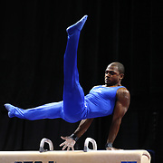 John Orozco, Colorado Springs, Colorado, in action on the Pommel horse during the Senior Men Competition at The 2013 P&G Gymnastics Championships, USA Gymnastics' National Championships at the XL, Centre, Hartford, Connecticut, USA. 16th August 2013. Photo Tim Clayton