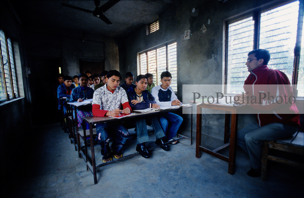 """A classroom in the Mary Golden English School...During the last two days the Maoists have ordered  private and public schools to close down. An Independent Association of Teachers as been set up to deal with the  Maoists threats...""""This is a Red Area, we must follow their rules"""" a teacher in Kalikot says....."""