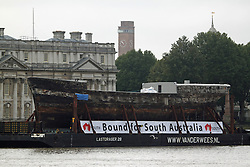 "© Licensed to London News Pictures. 18/10/2013. The world's oldest remaining clipper ship City of Adelaide is in Greenwich ahead of a renaming ceremony with the Duke of Edinburgh. She will then be moved to Australia despite attempts by heritage campaigners to keep her in the UK. Her new home in an Australian backwater has been controversial with one Australian MP saying this week she will be ""out of sight, out of mind"". Her visit to Greenwich sees her briefly reunited with the famous clipper Cutty Sark, loosely described as a ""sister ship"". Credit : Rob Powell/LNP"