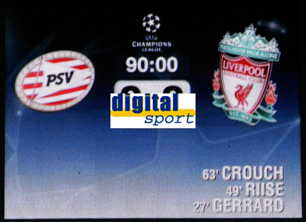 Photo: Paul Thomas.<br />PSV Eindhoven v Liverpool. UEFA Champions League, Quarter Final, 1st Leg. 03/04/2007.<br /><br />Final Score.