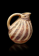 Minoan Kamares Ware ewer jug with  polychrome decorations, Phaistos Palace 1800-1600 BC; Heraklion Archaeological  Museum, black background.<br /> <br /> This style of pottery is named afetr Kamares cave where this style of pottery was first found .<br /> <br /> If you prefer to buy from our ALAMY PHOTO LIBRARY  Collection visit : https://www.alamy.com/portfolio/paul-williams-funkystock/minoan-art-artefacts.html . Type -   Heraklion   - into the LOWER SEARCH WITHIN GALLERY box. Refine search by adding background colour, place, museum etc<br /> <br /> Visit our MINOAN ART PHOTO COLLECTIONS for more photos to download  as wall art prints https://funkystock.photoshelter.com/gallery-collection/Ancient-Minoans-Art-Artefacts-Antiquities-Historic-Places-Pictures-Images-of/C0000ricT2SU_M9w