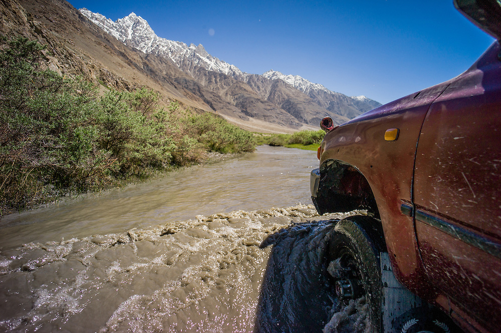 The Afghan jeeps were considerably less well equipped than the Tajik ones. June snow melt meant encountering swollen rivers, giving our drivers considerable challenges.