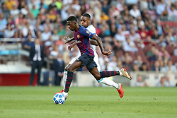 September 18, 2018 - Barcelona, Catalonia, Spain - Ousmane Dembele of FC Barcelona duels for the ball with Pablo Rosario of PSV Eindhoven during the UEFA Champions League, Group B football match between FC Barcelona and PSV Eindhoven on September 18, 2018 at Camp Nou stadium in Barcelona, Spain (Credit Image: © Manuel Blondeau via ZUMA Wire)