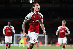 Arsenal's Hector Bellerin celebrates scoring his side's third goal of the game during the Europa League match at the Emirates Stadium, London.