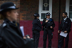 © Licensed to London News Pictures. 17/11/2020. London, UK. Police guard a crime following the death of a man in Southwark, central London. A man believed in his 20s, was found inside the Bramwell House, suffering injuries, despite the efforts of the emergency services he was pronounced dead at the scene. Photo credit: Marcin Nowak/LNP