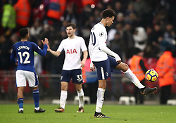 Tottenham Hotspur's Dele Alli kicks around the football after winning 4-0 to Everton during the Premier League match at Wembley Stadium, London.