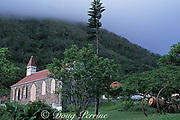 Windwardside town, old church and cannons, Saba Isand, Netherlands Antilles, ( Eastern Caribbean Sea )
