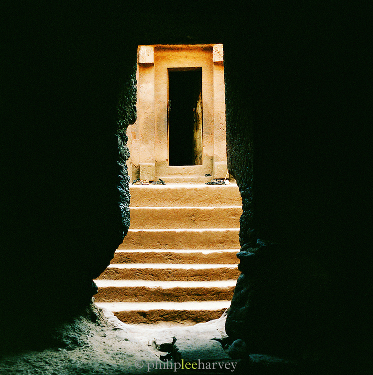 Stone steps to a doorway in Llibela, Ethiopia