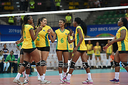GUANGZHOU, June 18, 2017  Players of South Africa celebrate after scoring during the women's volleyball match against Brazil at 2017 BRICS Games in Guangzhou, south China's Guangdong Province, June 18, 2017. (Credit Image: © Liang Xu/Xinhua via ZUMA Wire)