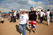 London, UK. Thursday 9th August 2012. London 2012 Olympic Games Park in Stratford. Fan with Union Jack shorts.
