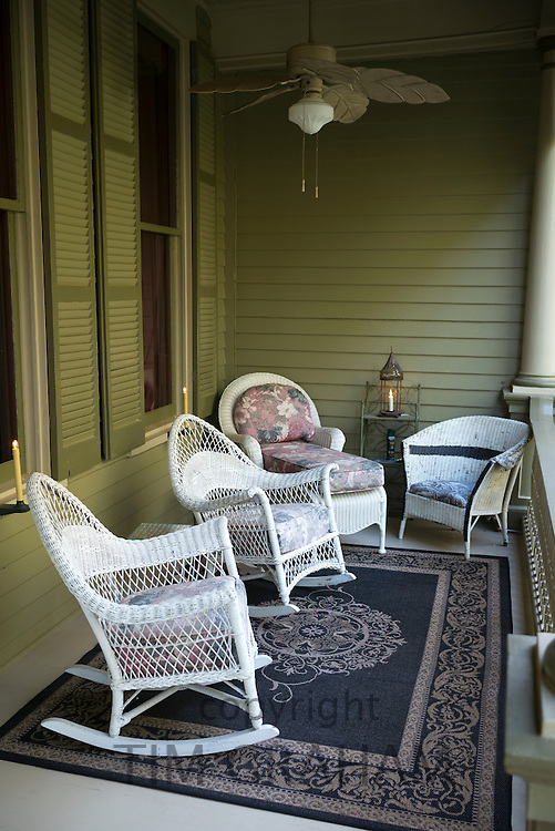 Devereaux Shields House bed and breakfast hotel, rocking chairs on front stoop, North Union Street, Natchez, Mississippi USA