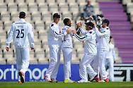 Hampshire bowler Fidel Edwards celebrates after taking the opening wicket of Warwickshire batsman Ian Westwood during the Specsavers County Champ Div 1 match between Hampshire County Cricket Club and Warwickshire County Cricket Club at the Ageas Bowl, Southampton, United Kingdom on 12 April 2016. Photo by Graham Hunt.