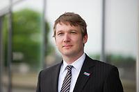 DEU, Deutschland, Germany, Dresden, 16.05.2015: Portrait von Andre Poggenburg, AfD-Landesvorsitzender in Sachsen-Anhalt, am Rande des Demokratiekongresses im ICD.