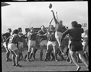 Ireland Vs England at Lansdowne Rd..1971..13.02.1971..02.13.1971..13th February 1971..In the Five Nations Championship, Ireland took on England at Lansdowne Road,Dublin. The final score in the game was Ireland 6,England 9..Bob Hiller,the England fullback,scored all his teams points with three penalties..Ireland replied with two tries from Grant and Duggan..In the championship,Wales won the Triple Crown and completed the Grand Slam when they defeated France in their final game of the season..Pictured is some of the action on the pitch,Ireland go highest to knock the ball back to scrumhalf,Young.