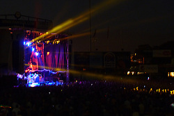Lighting shown sideline, later in the Show. Furthur Band at McCoy Stadium, Pawtucket RI on 5 July 2012