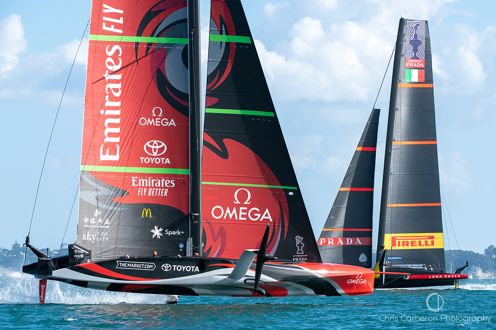 Emirates Team New Zealand and Luna Rossa Prada Pirelli Team race ten. Wednesday the 17th of March 2021. Copyright photo: Chris Cameron