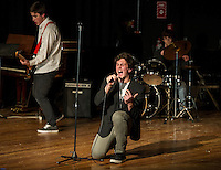 """""""Bring Back Blockbuster"""" Michael O'Brien, Mitchell Bailey and Troy Harper (Brent Clarke not pictured) rock the stage at LHS during Laconia's Got Talent on Thursday evening to benefit the Got Lunch program.   (Karen Bobotas/for the Laconia Daily Sun)"""